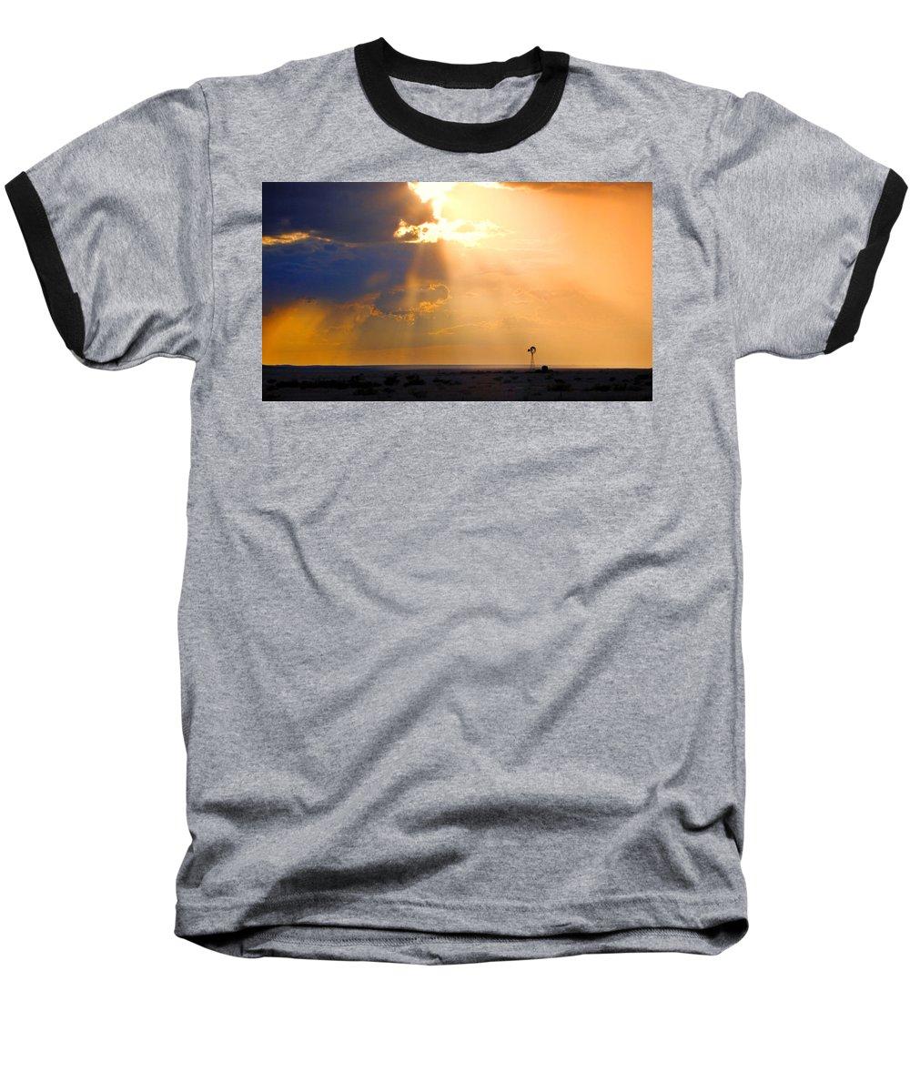 Skip Hunt Baseball T-Shirt featuring the photograph Marfa Windmill 1 by Skip Hunt
