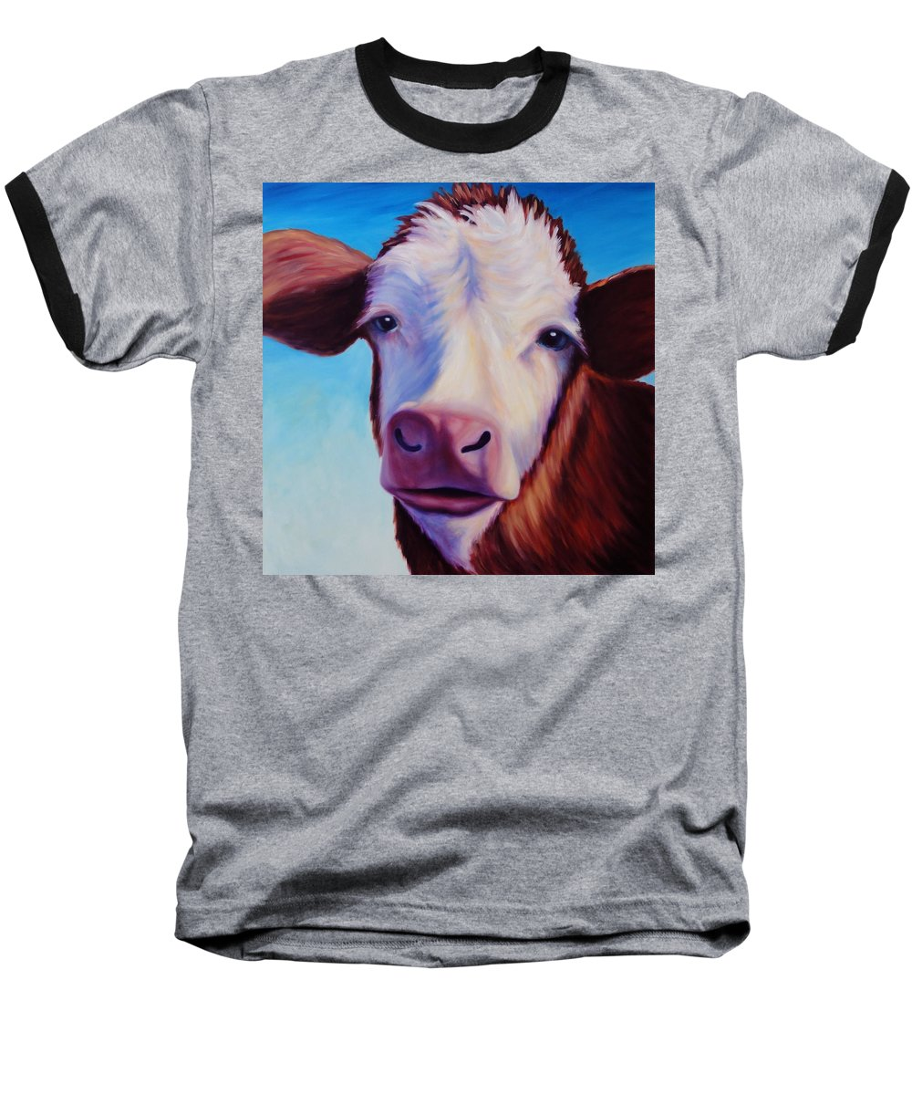 Cow Baseball T-Shirt featuring the painting Marie by Shannon Grissom