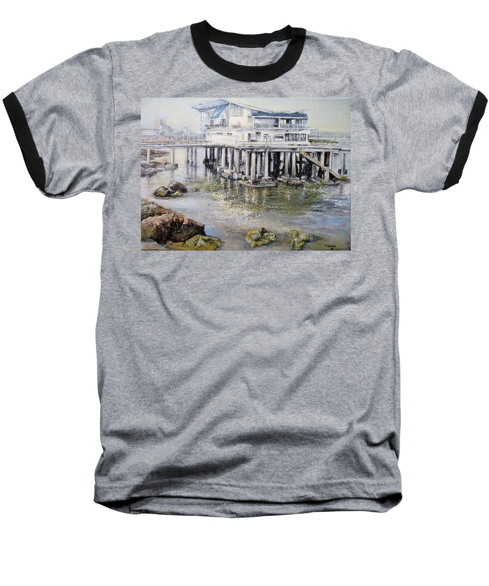 Maritim Baseball T-Shirt featuring the painting Maritim Club Castro Urdiales by Tomas Castano