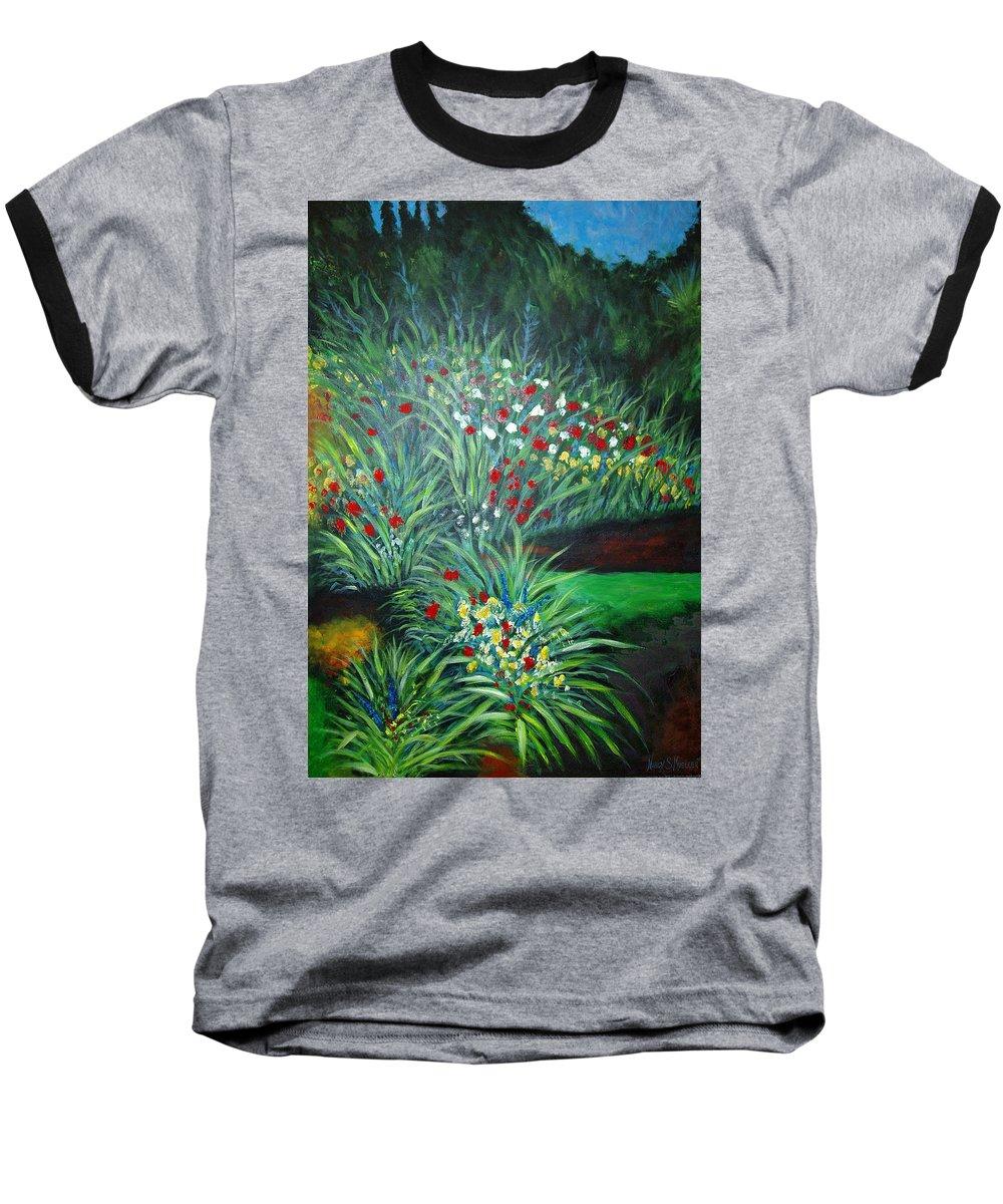 Landscape Baseball T-Shirt featuring the painting Maryann's Garden 3 by Nancy Mueller