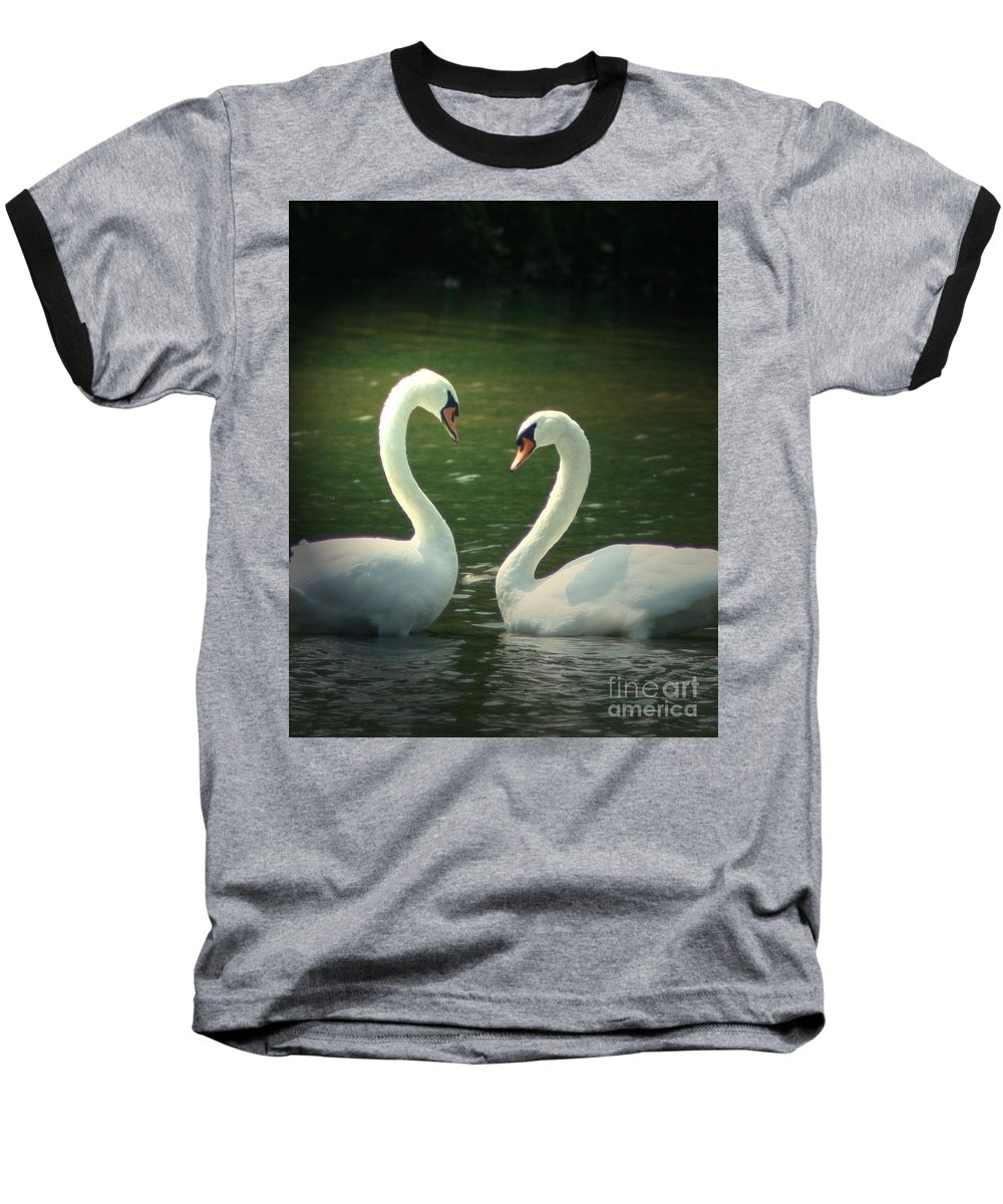 Nature Wildlife Ohio Waterscape Landscape Swans Lake Pond Baseball T-Shirt featuring the photograph Mates For Life by Dawn Downour