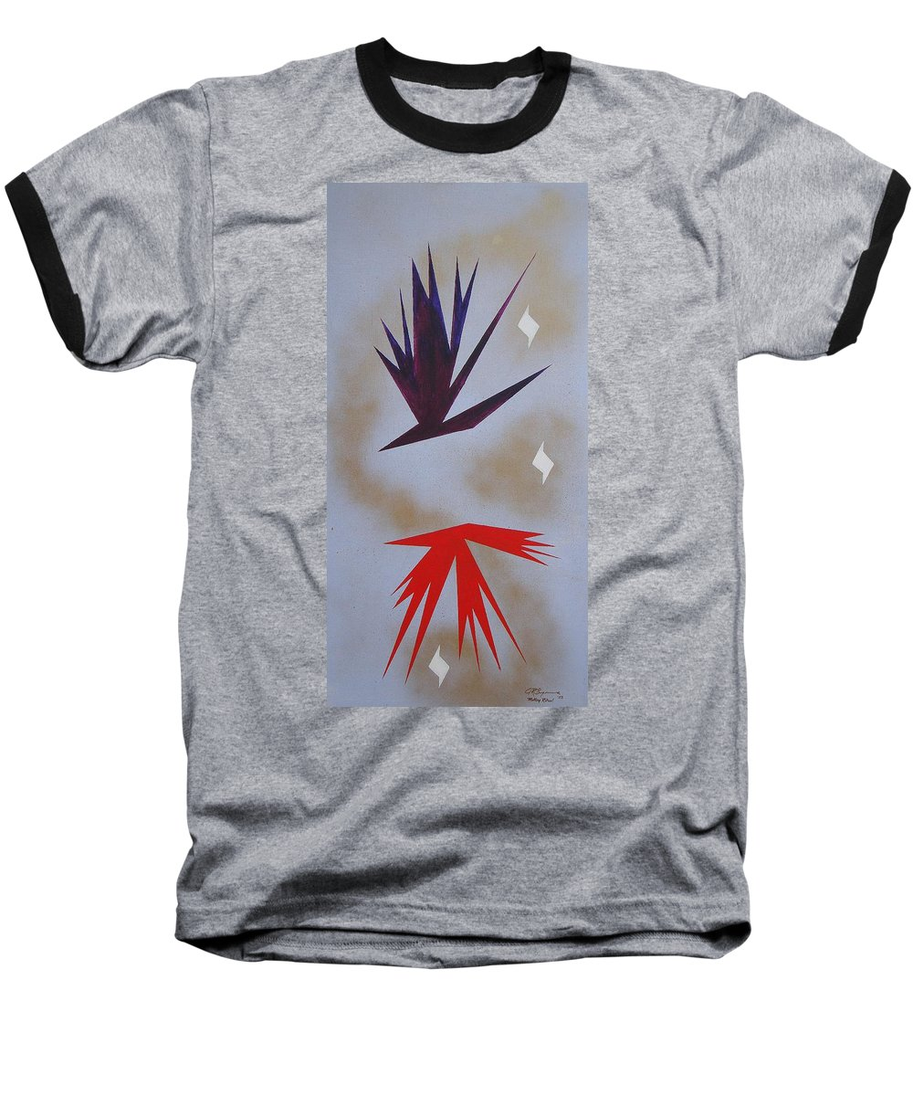 Birds Baseball T-Shirt featuring the painting Mating Ritual by J R Seymour