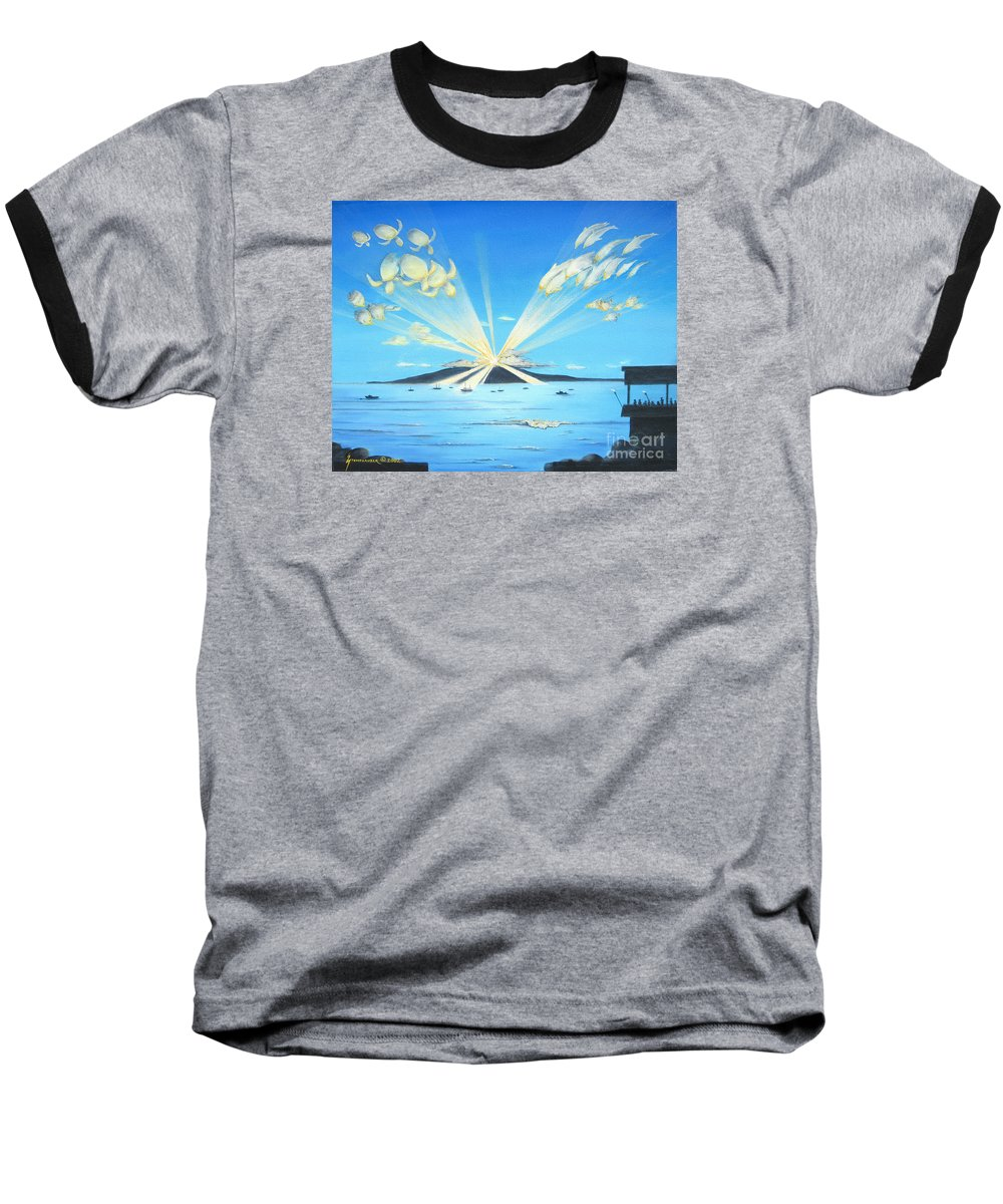 Maui Baseball T-Shirt featuring the painting Maui Magic by Jerome Stumphauzer