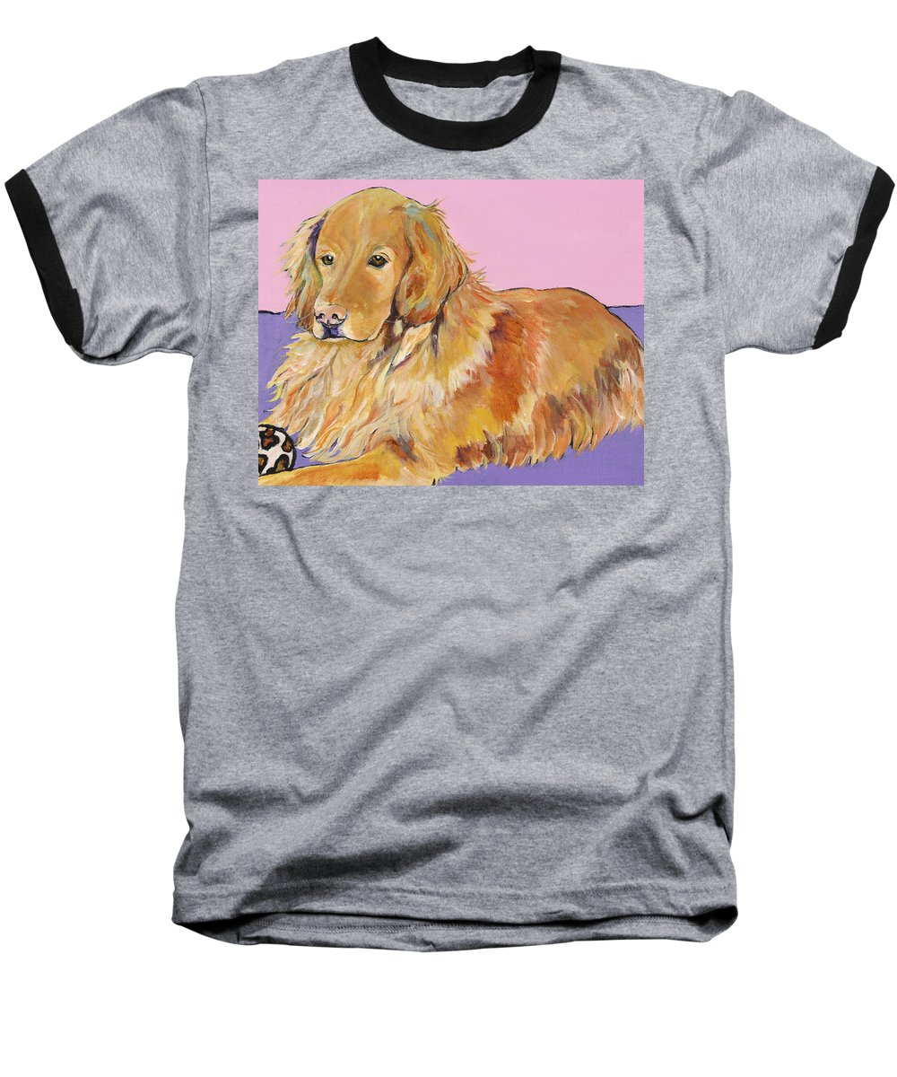 Golden Retriever Baseball T-Shirt featuring the painting Maya by Pat Saunders-White