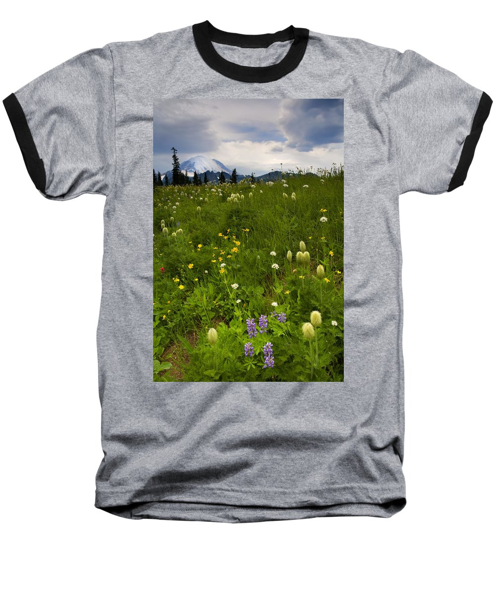 Rainier Baseball T-Shirt featuring the photograph Meadow Beneath The Storm by Mike Dawson