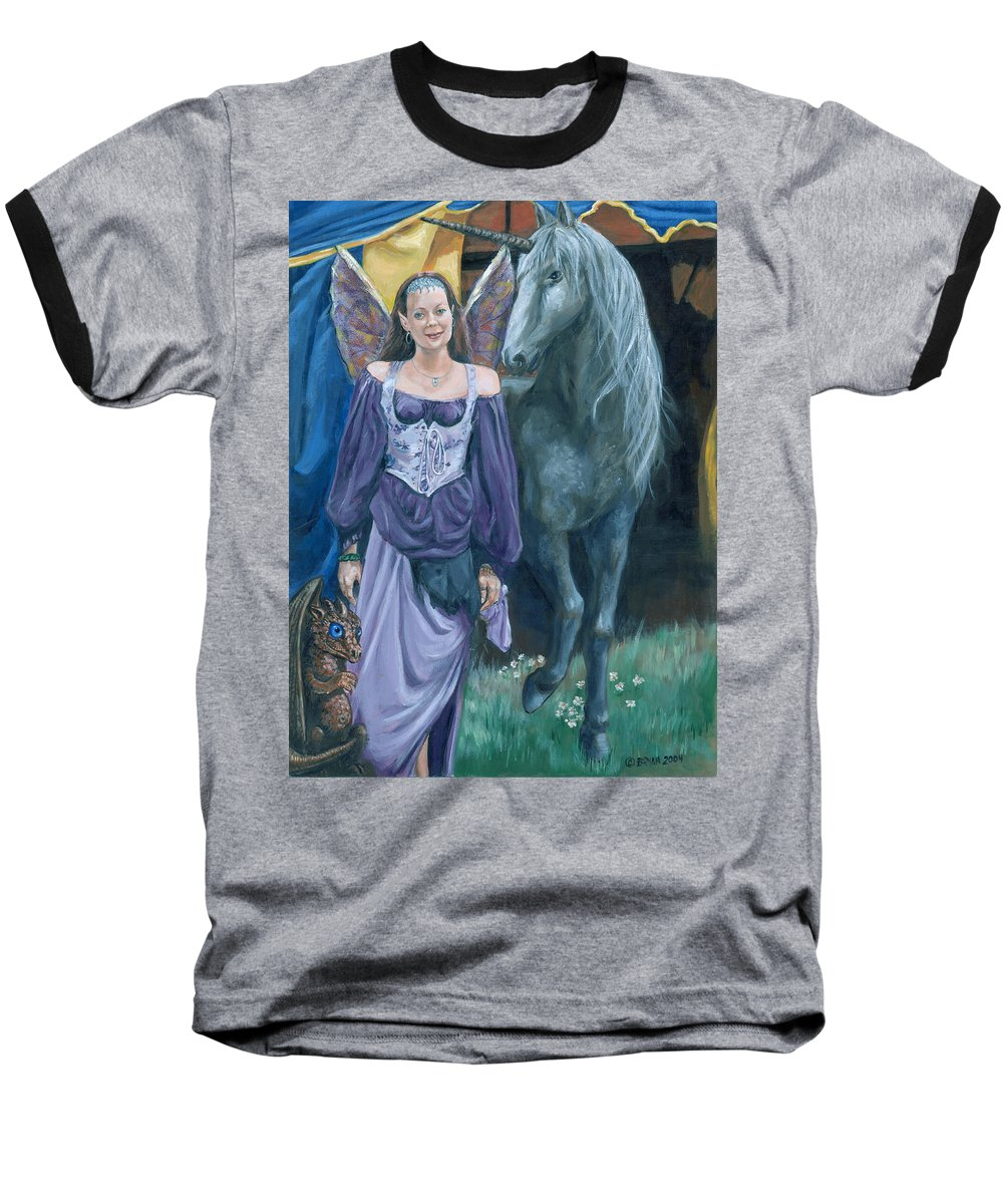 Fairy Faerie Unicorn Dragon Renaissance Festival Baseball T-Shirt featuring the painting Medieval Fantasy by Bryan Bustard