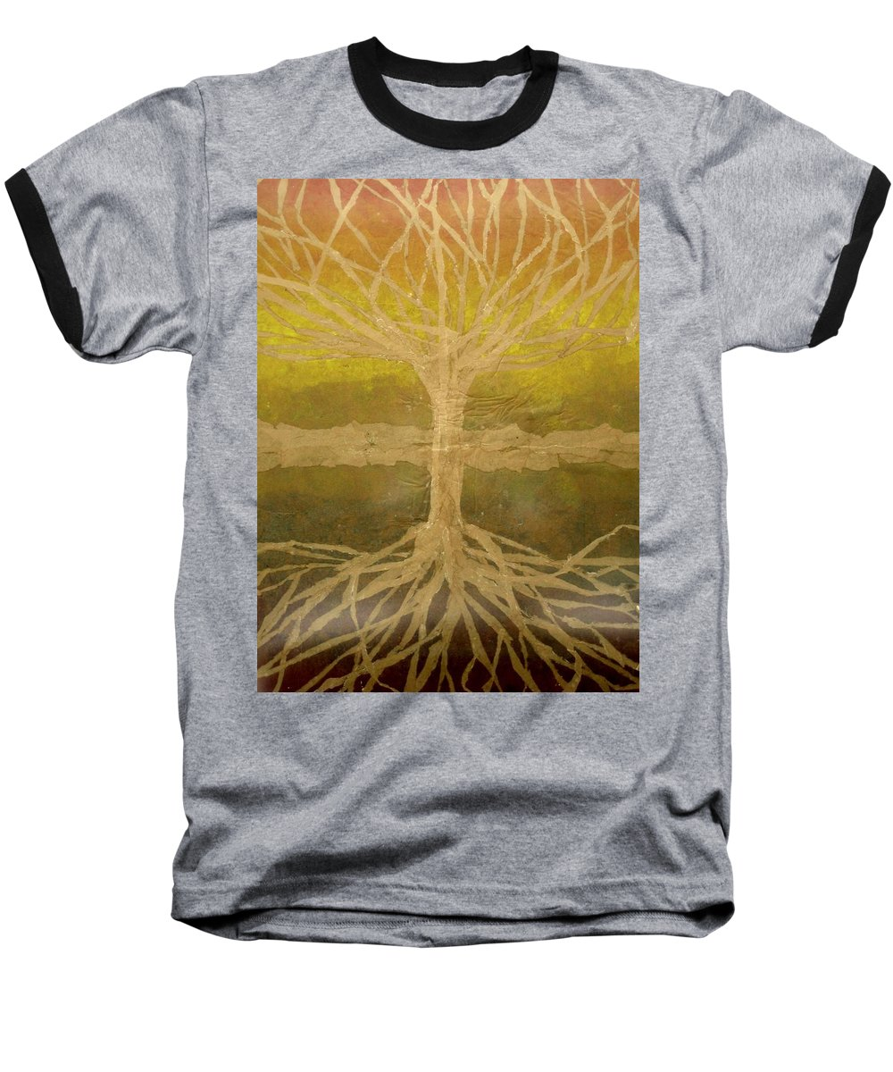Abstract Baseball T-Shirt featuring the painting Meditation by Leah Tomaino