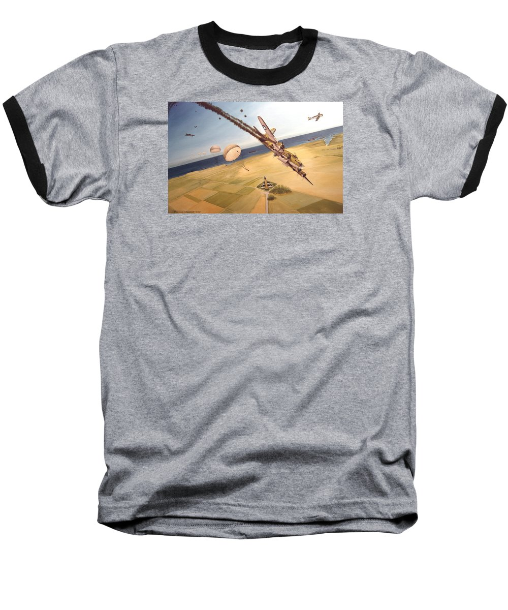 Aviation Baseball T-Shirt featuring the painting Mehitabel by Marc Stewart