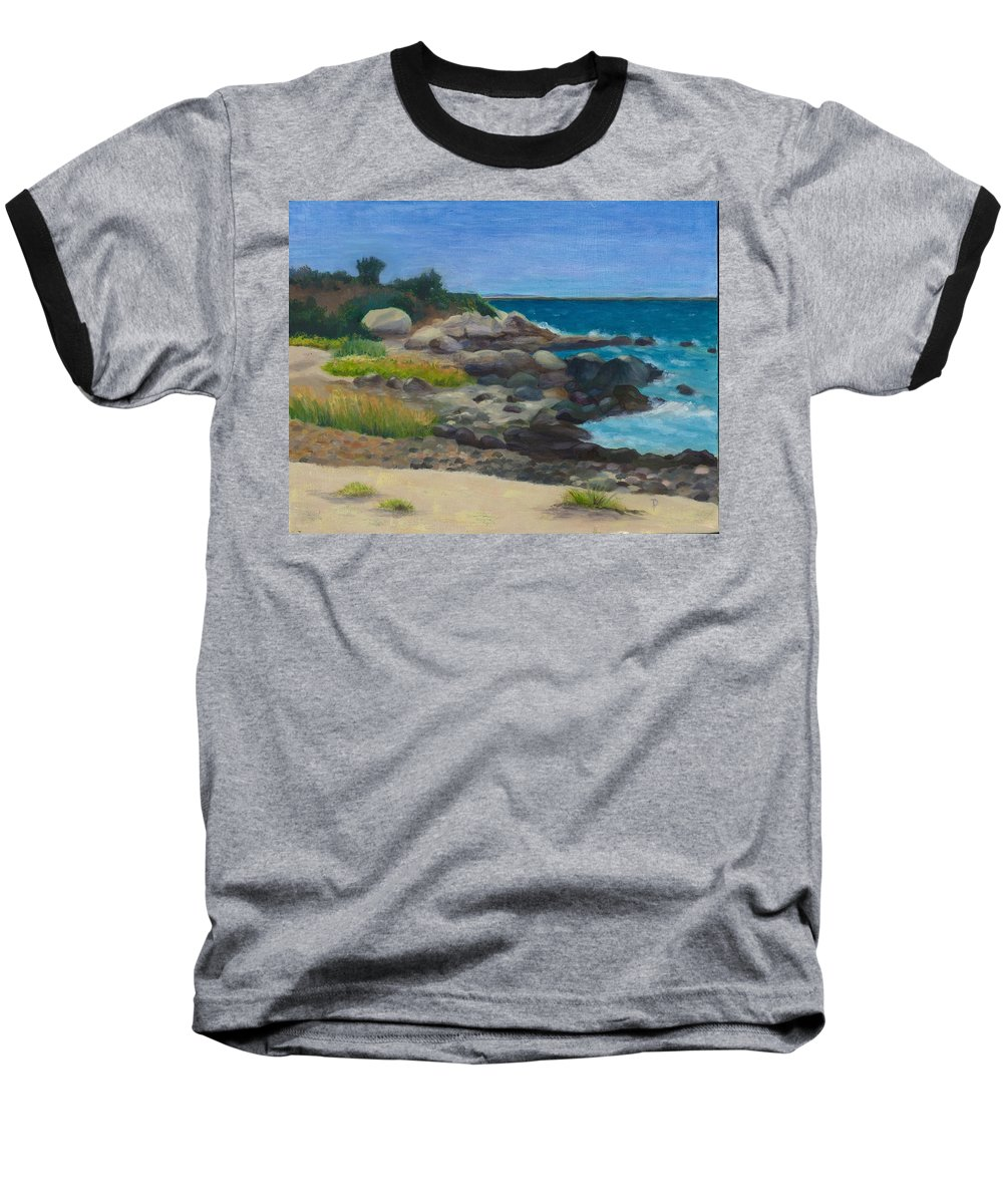 Landscape Baseball T-Shirt featuring the painting Meigs Point by Paula Emery