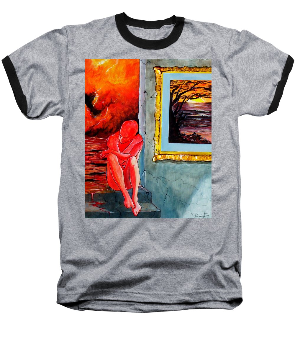 War Sunset Bombs Explosion Wait Loneliness Frustration Baseball T-Shirt featuring the painting Memoirs Of A Bloody Sunset by Veronica Jackson