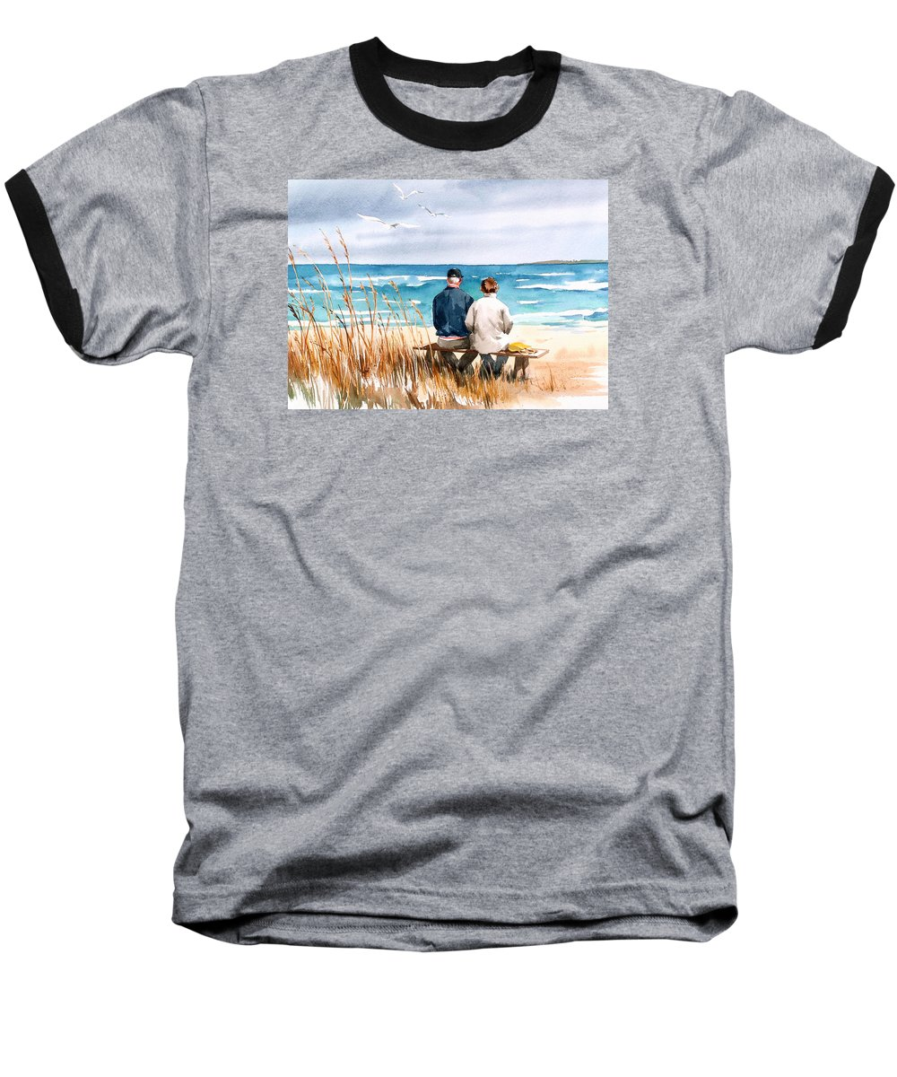 Couple On Beach Baseball T-Shirt featuring the painting Memories by Art Scholz