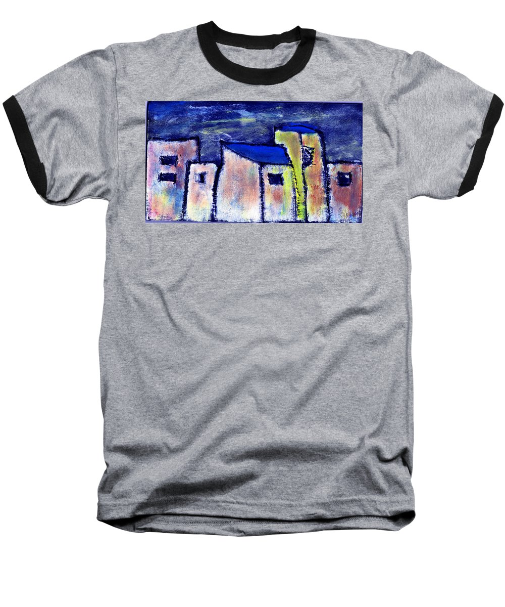 Buidings Baseball T-Shirt featuring the painting Memories by Wayne Potrafka