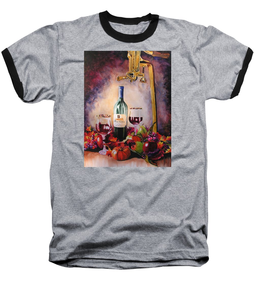 Wine Baseball T-Shirt featuring the painting Merriment by Karen Stark