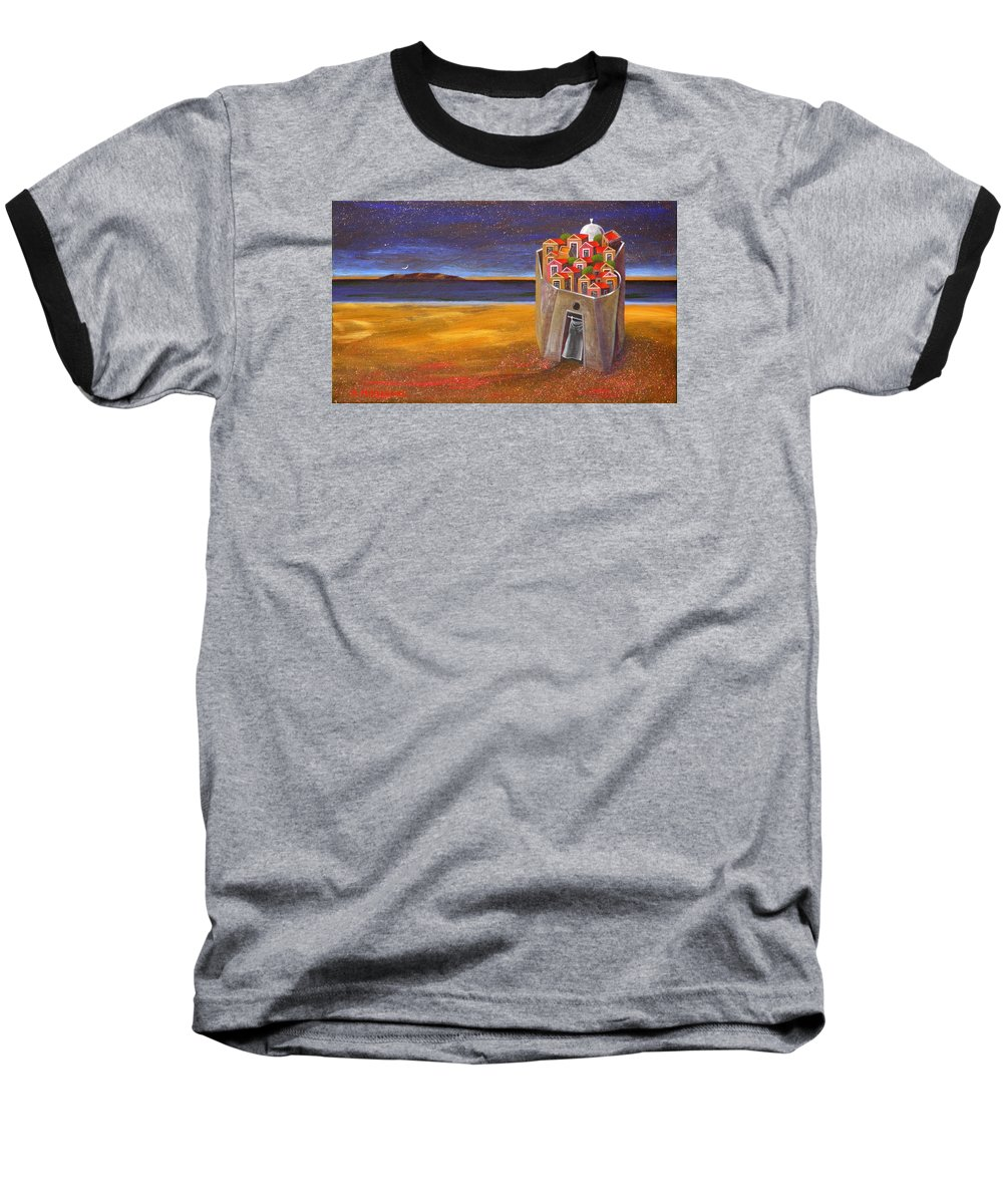 Superrealism Baseball T-Shirt featuring the painting Mesi Castle Village by Dimitris Milionis