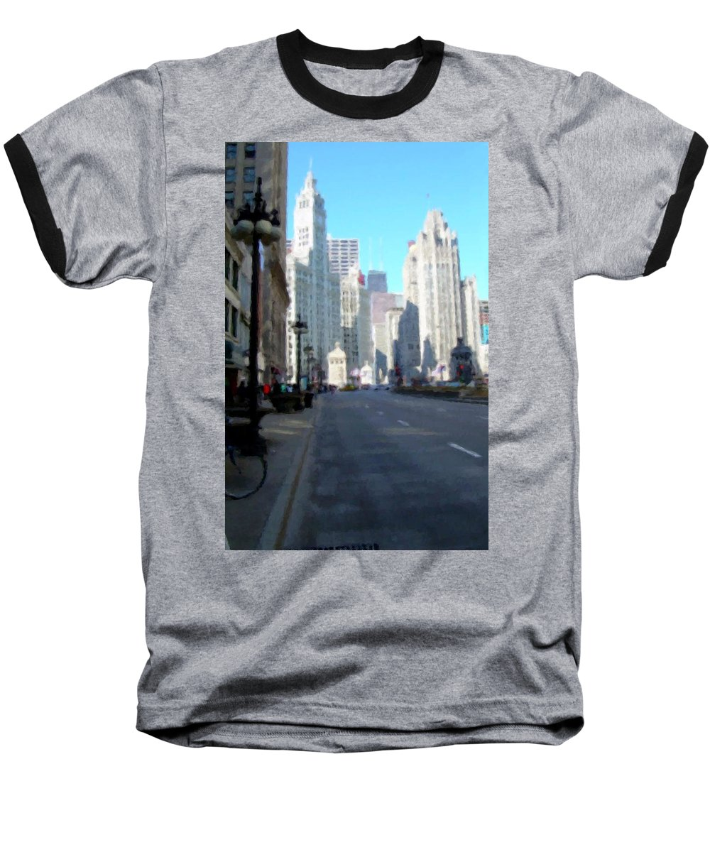Chicago Baseball T-Shirt featuring the digital art Michigan Ave Tall by Anita Burgermeister