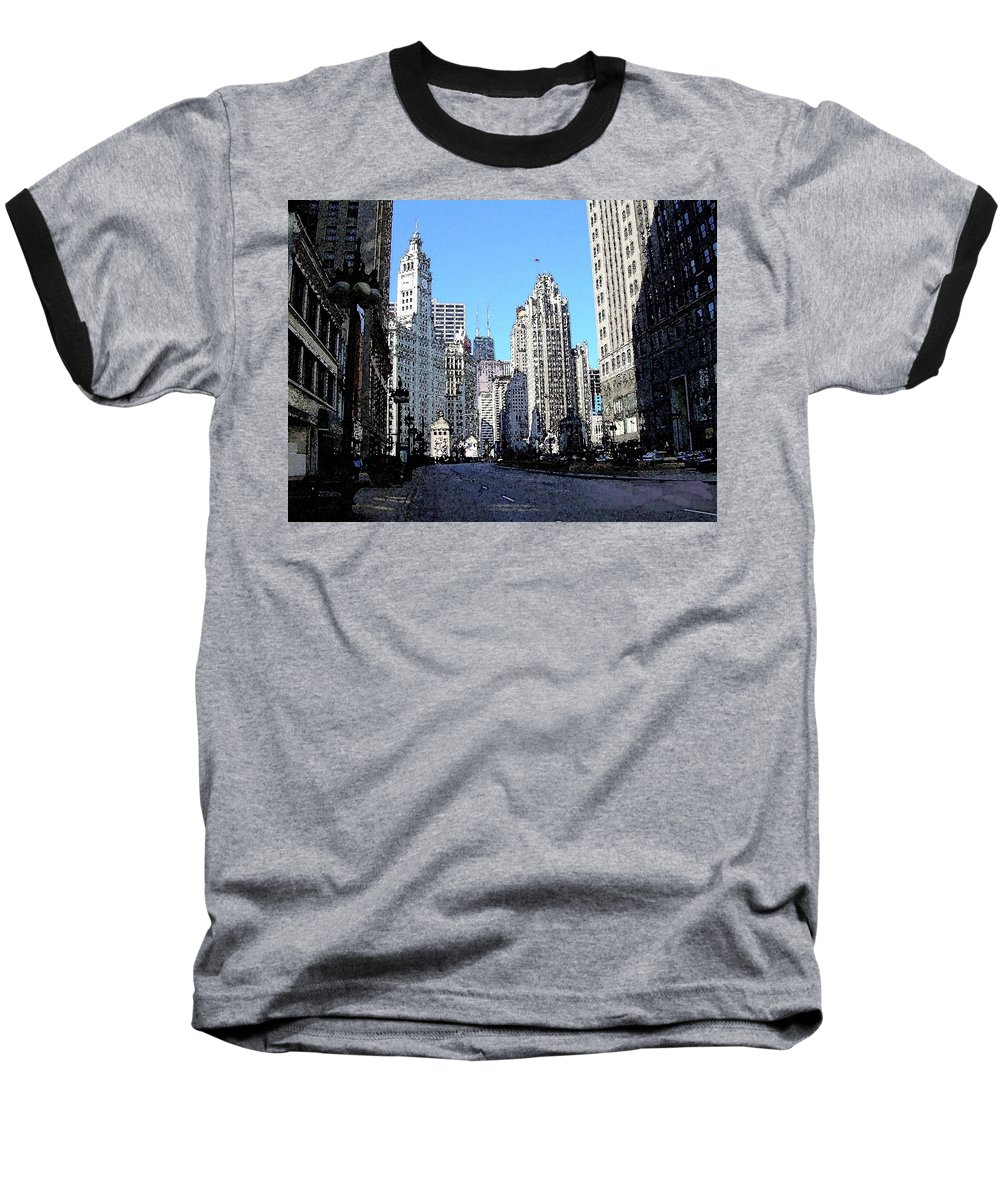 Chicago Baseball T-Shirt featuring the digital art Michigan Ave Wide by Anita Burgermeister