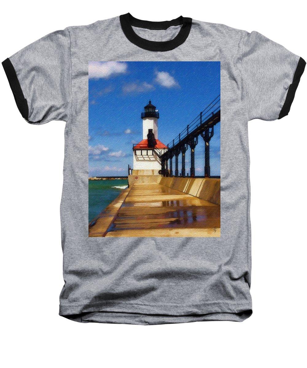 Lighthouse Baseball T-Shirt featuring the photograph Michigan City Light 1 by Sandy MacGowan