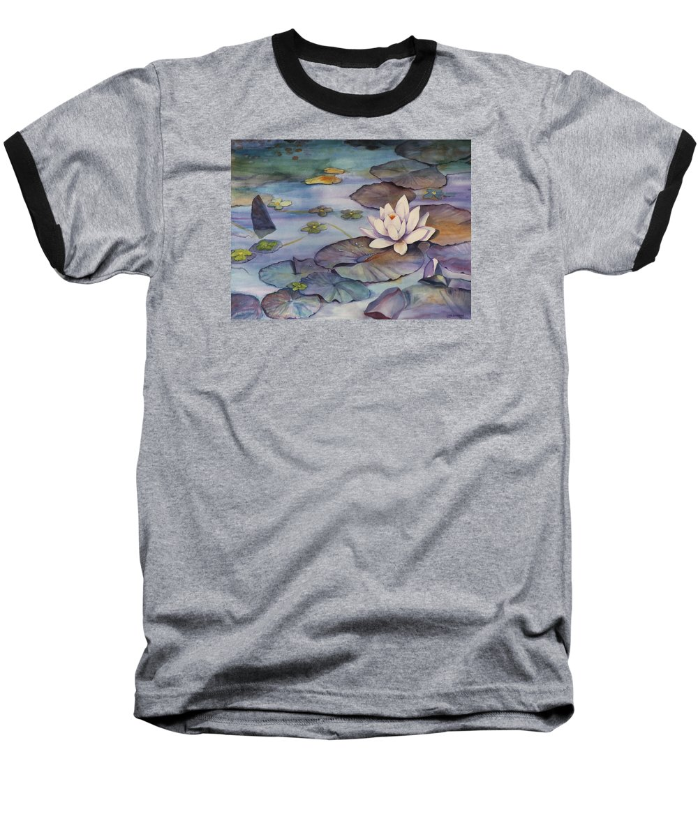 Lily Baseball T-Shirt featuring the painting Midnight Lily by Jun Jamosmos