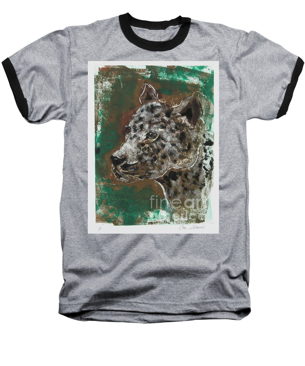 Monotype Baseball T-Shirt featuring the mixed media Midnight Prowler by Cori Solomon
