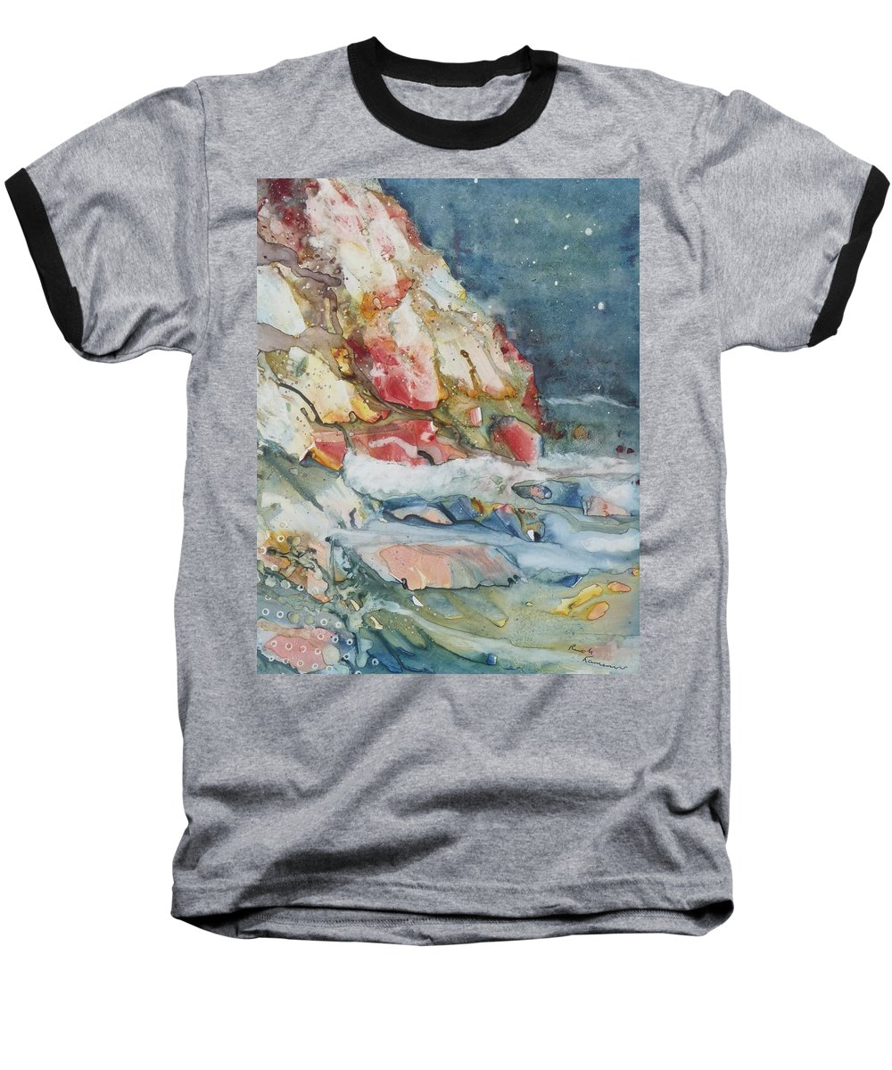 Abstract Baseball T-Shirt featuring the painting Midnight Surf by Ruth Kamenev