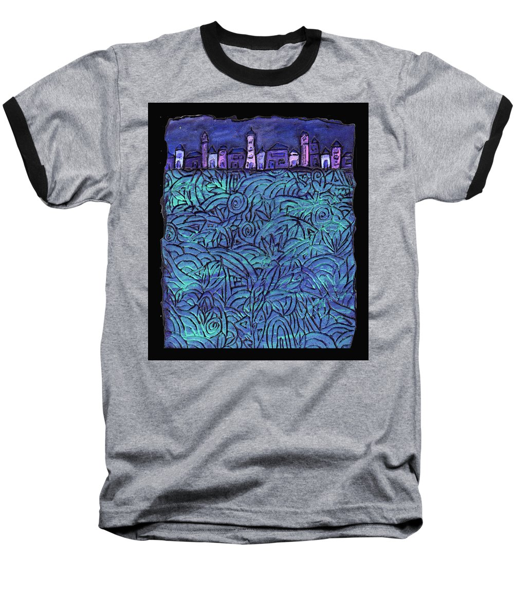 Night Baseball T-Shirt featuring the painting Midnight by Wayne Potrafka