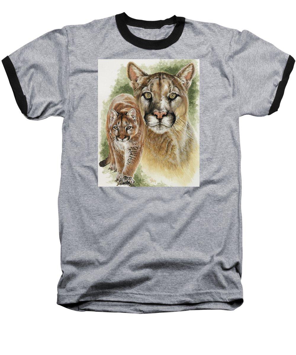 Cougar Baseball T-Shirt featuring the mixed media Mighty by Barbara Keith
