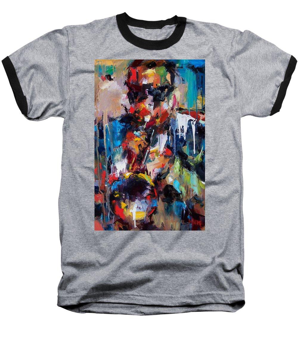 Jazz Art Baseball T-Shirt featuring the painting Miles Davis 2 by Debra Hurd