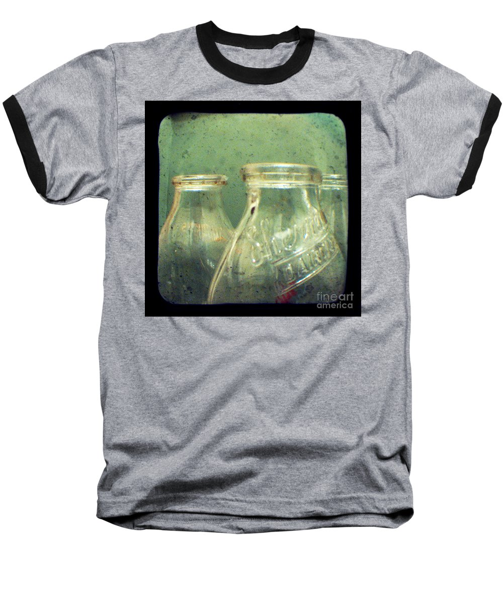 Ttv Baseball T-Shirt featuring the photograph Milk Bottles by Dana DiPasquale