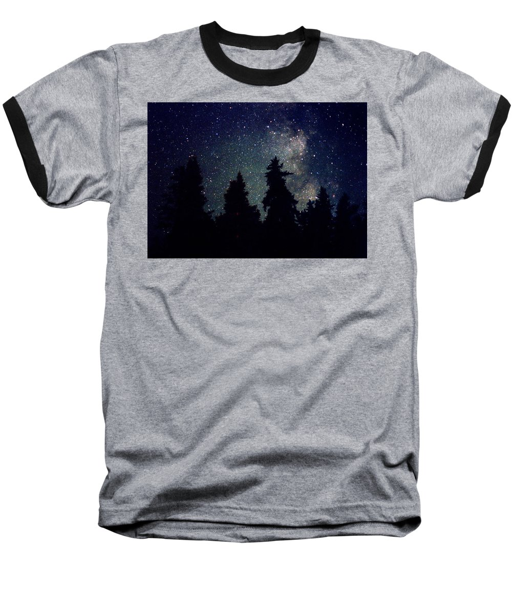 Milky Way Baseball T-Shirt featuring the photograph Milky Way Above Northern Forest 22 by Lyle Crump