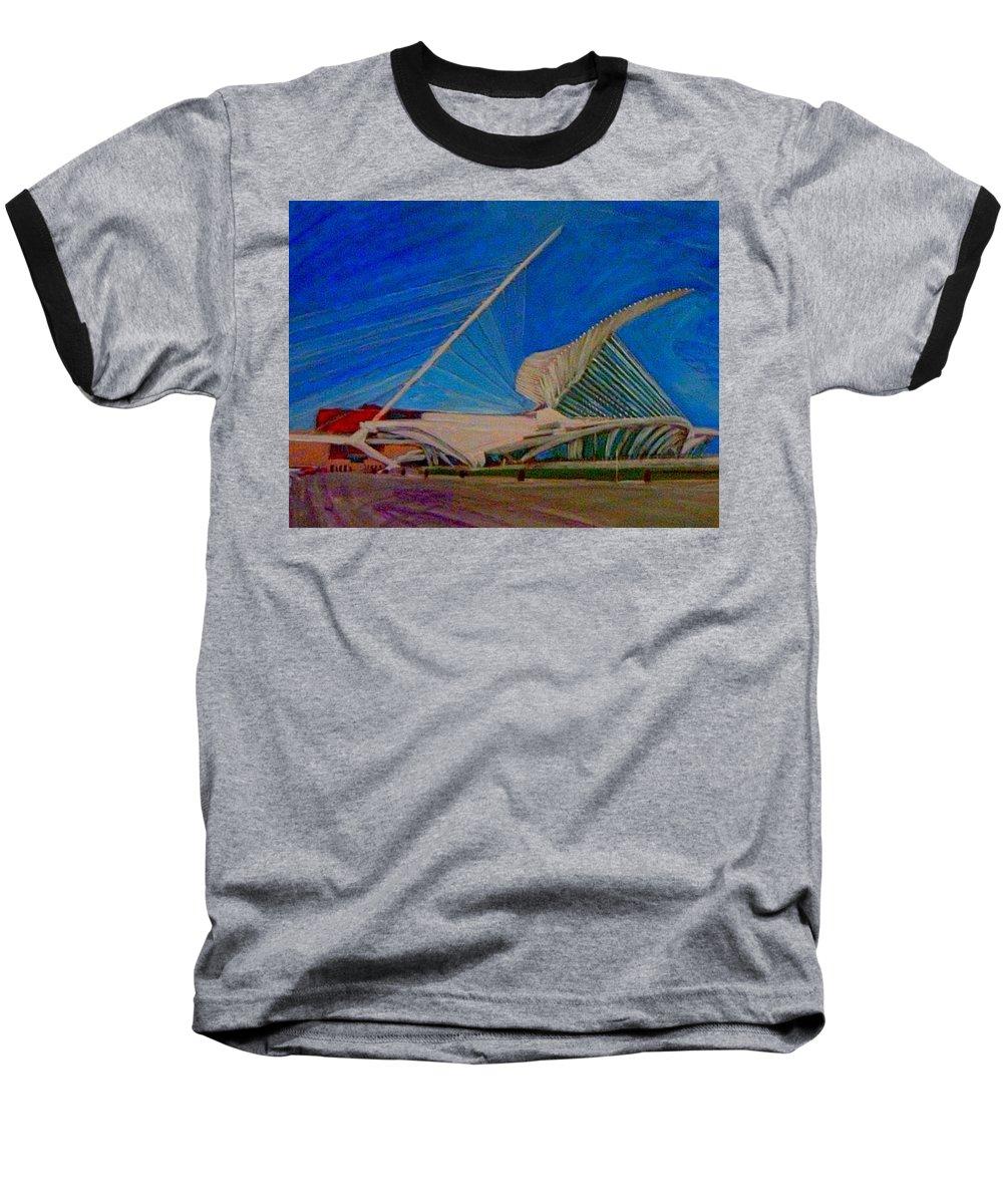 Mam Baseball T-Shirt featuring the mixed media Milwaukee Art Museum by Anita Burgermeister