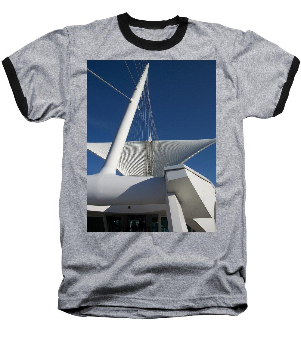 Mam Baseball T-Shirt featuring the photograph Milwaukee Art Museum Cropped by Anita Burgermeister