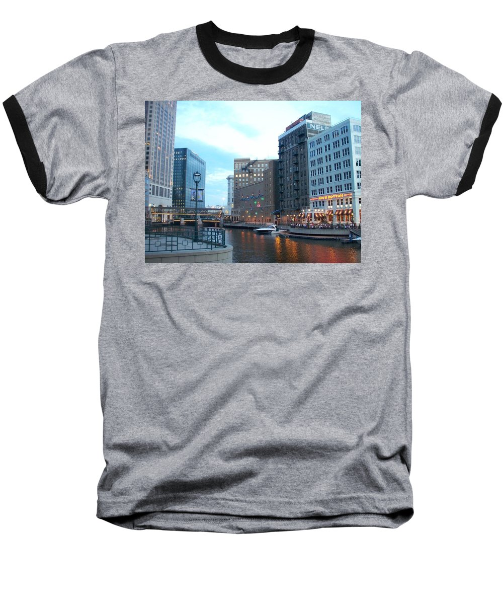 Milwaukee Baseball T-Shirt featuring the photograph Milwaukee River Walk by Anita Burgermeister