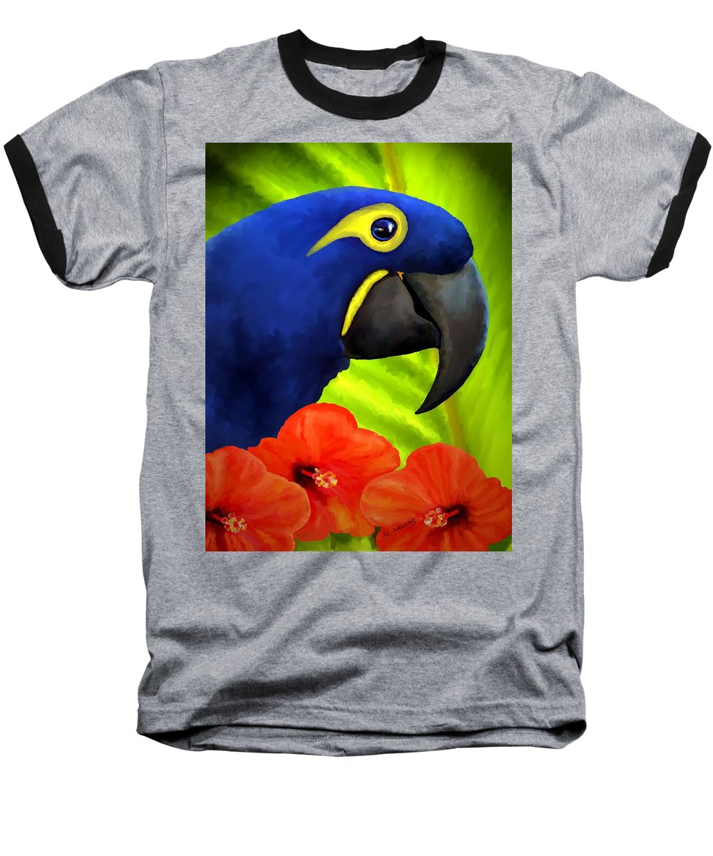 Hyacinth Macaw Baseball T-Shirt featuring the painting Mimi by David Wagner