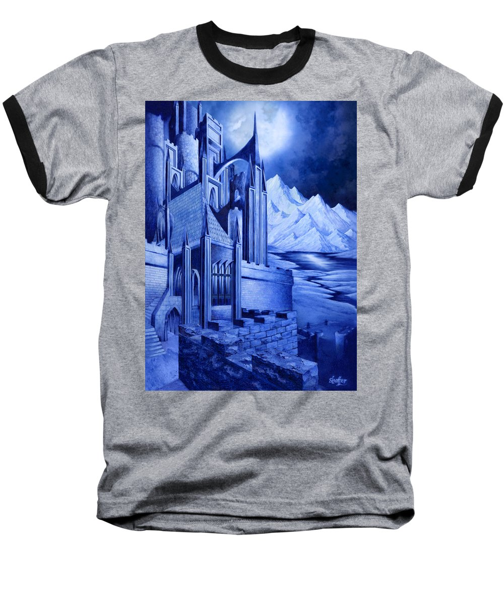 Lord Of The Rings Baseball T-Shirt featuring the mixed media Minas Tirith by Curtiss Shaffer