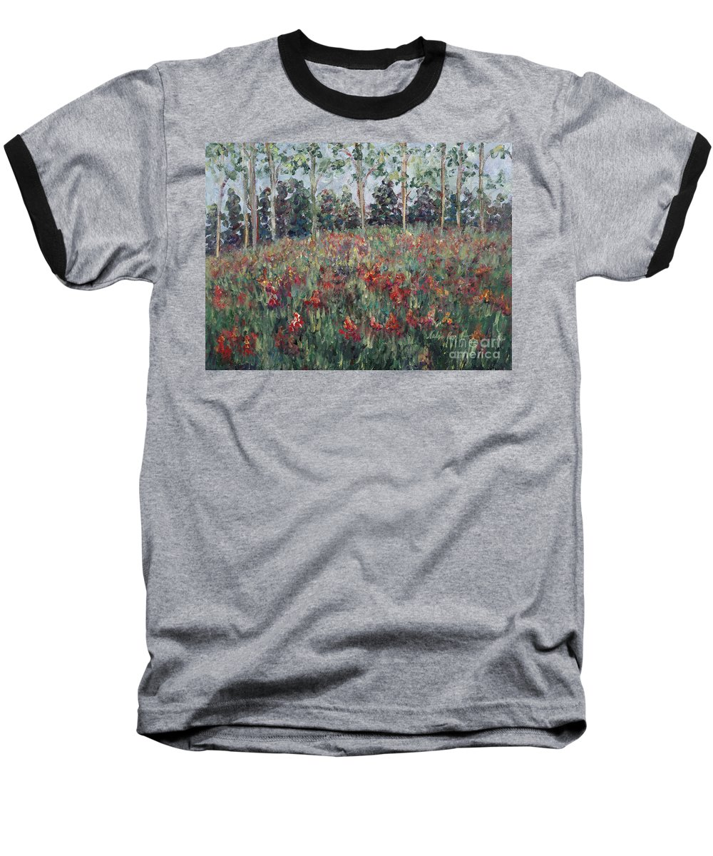 Landscape Baseball T-Shirt featuring the painting Minnesota Wildflowers by Nadine Rippelmeyer