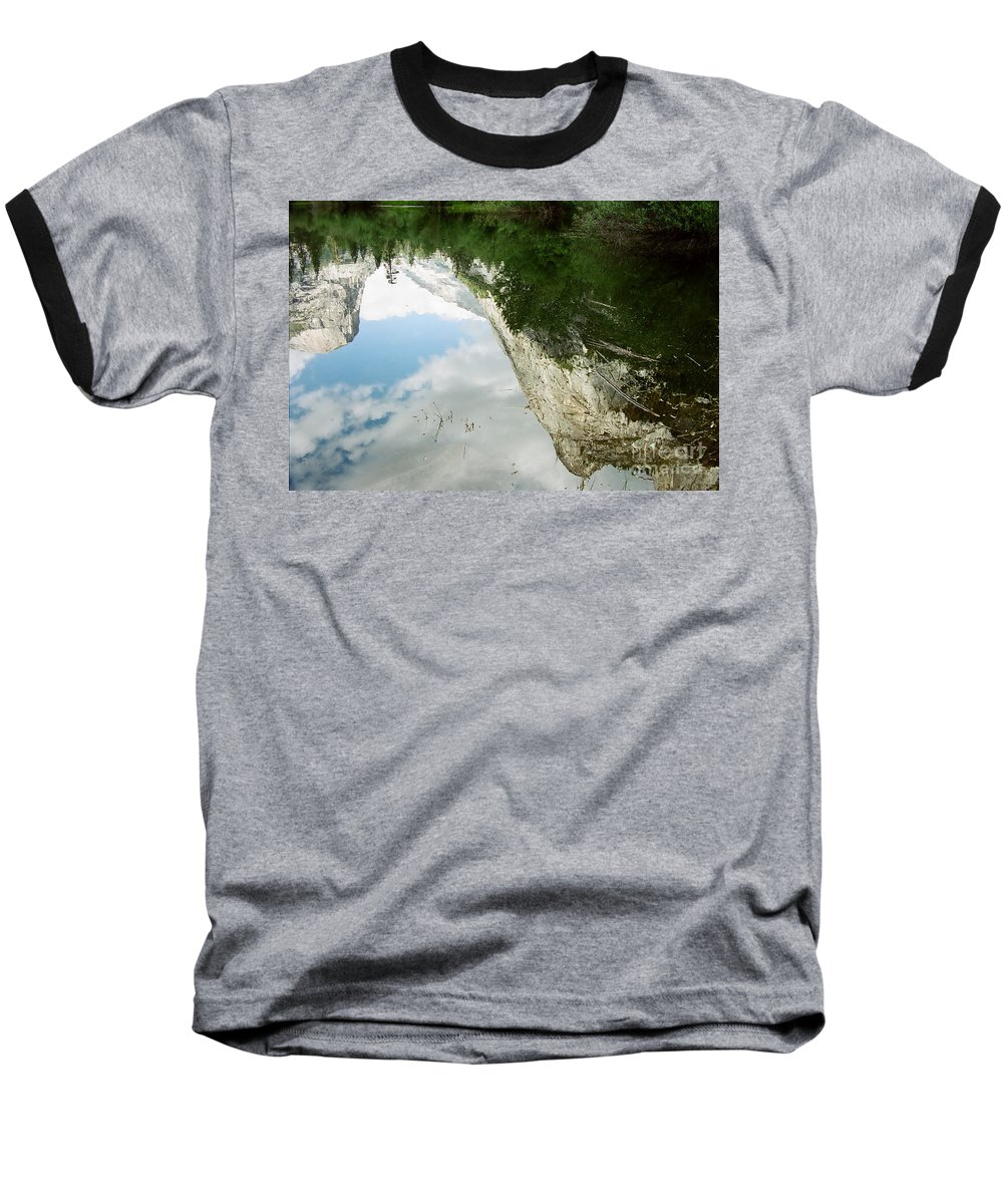Mirror Lake Baseball T-Shirt featuring the photograph Mirrored by Kathy McClure