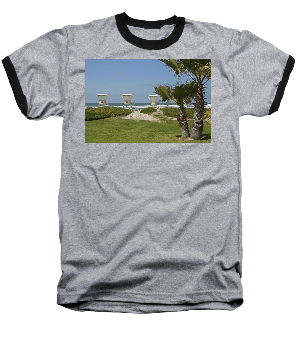 Beach Baseball T-Shirt featuring the photograph Mission Beach Shelters by Margie Wildblood
