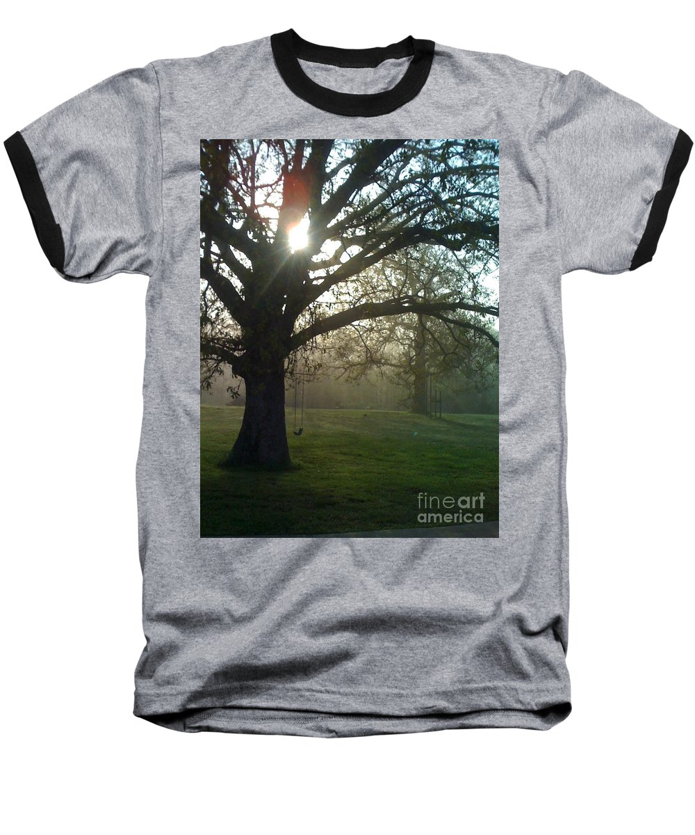 Mist Baseball T-Shirt featuring the photograph Misty Morning by Nadine Rippelmeyer