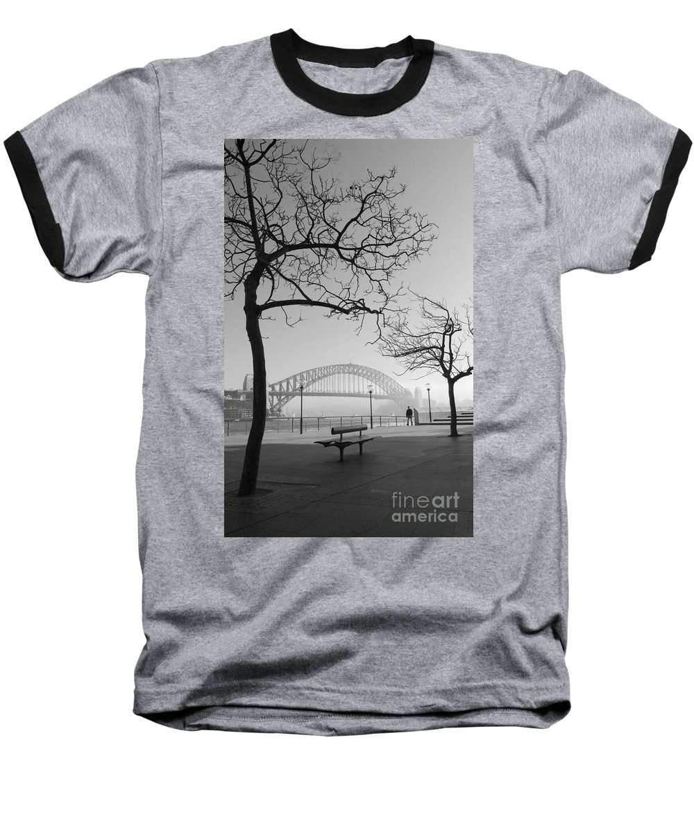 Sydney Harbour Bridge Mist Australia Baseball T-Shirt featuring the photograph Misty Sydney Morning by Avalon Fine Art Photography