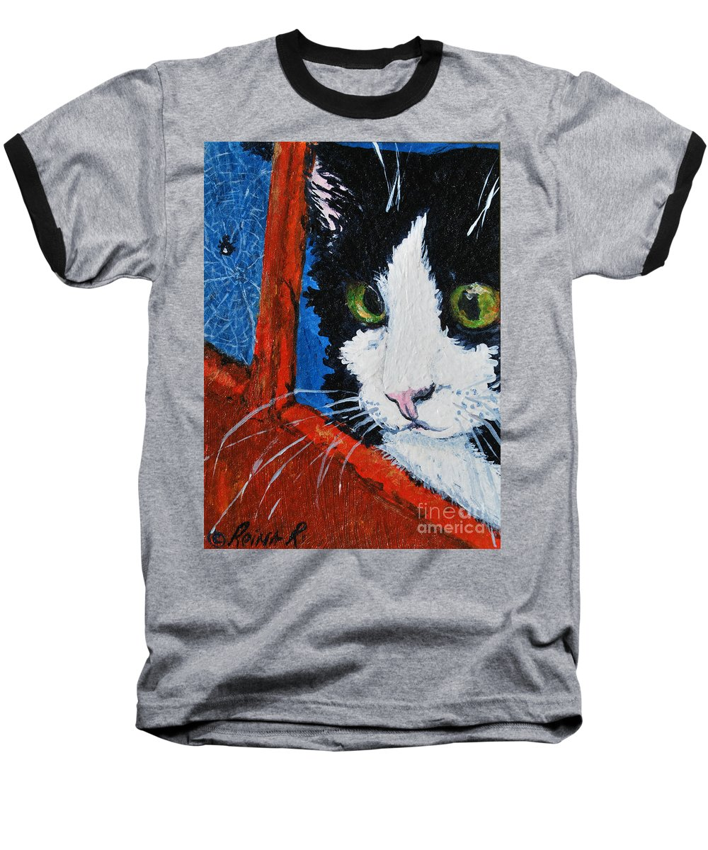 Cat Baseball T-Shirt featuring the painting Molly by Reina Resto