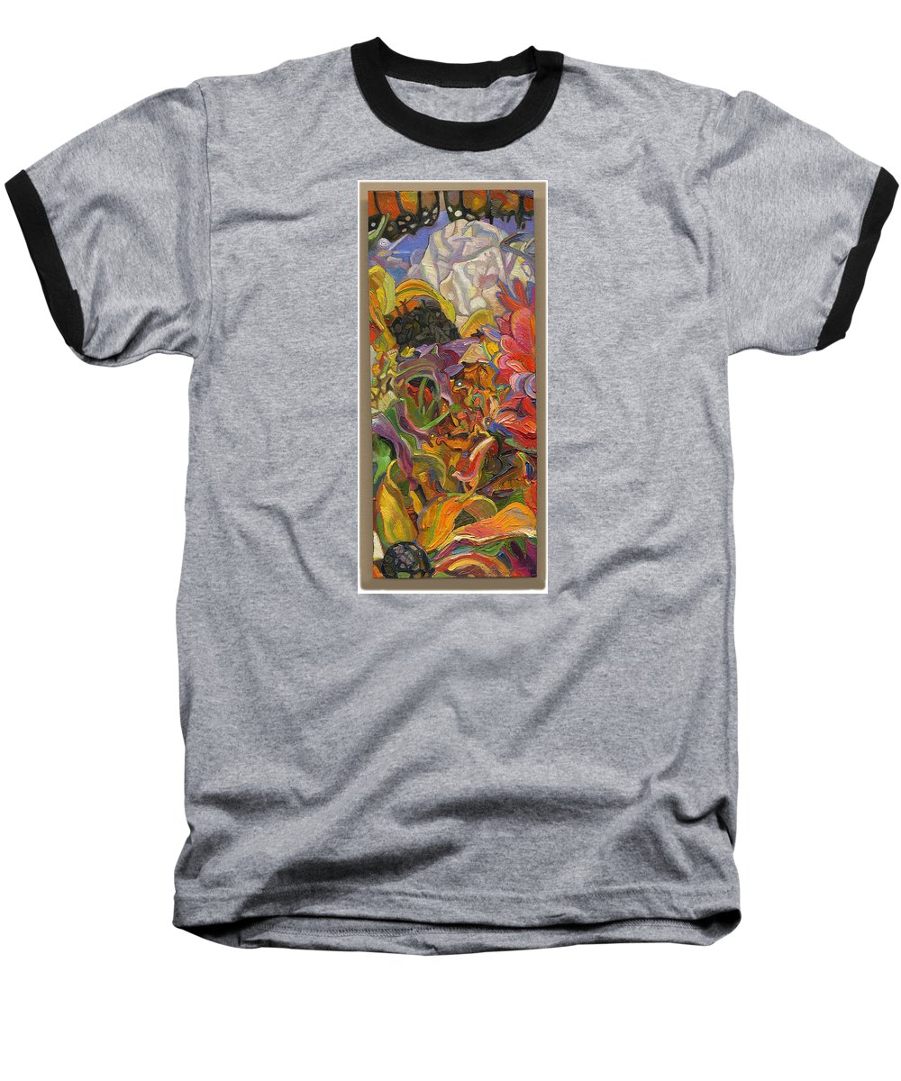 Flowers Baseball T-Shirt featuring the painting Monarch Mountain by Juel Grant