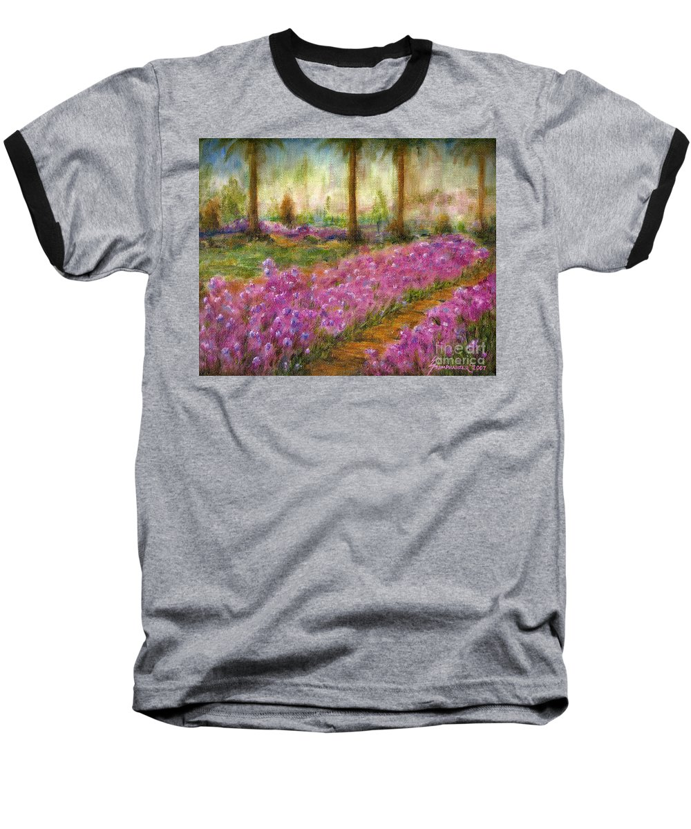 Monet Baseball T-Shirt featuring the painting Monet's Garden In Cannes by Jerome Stumphauzer