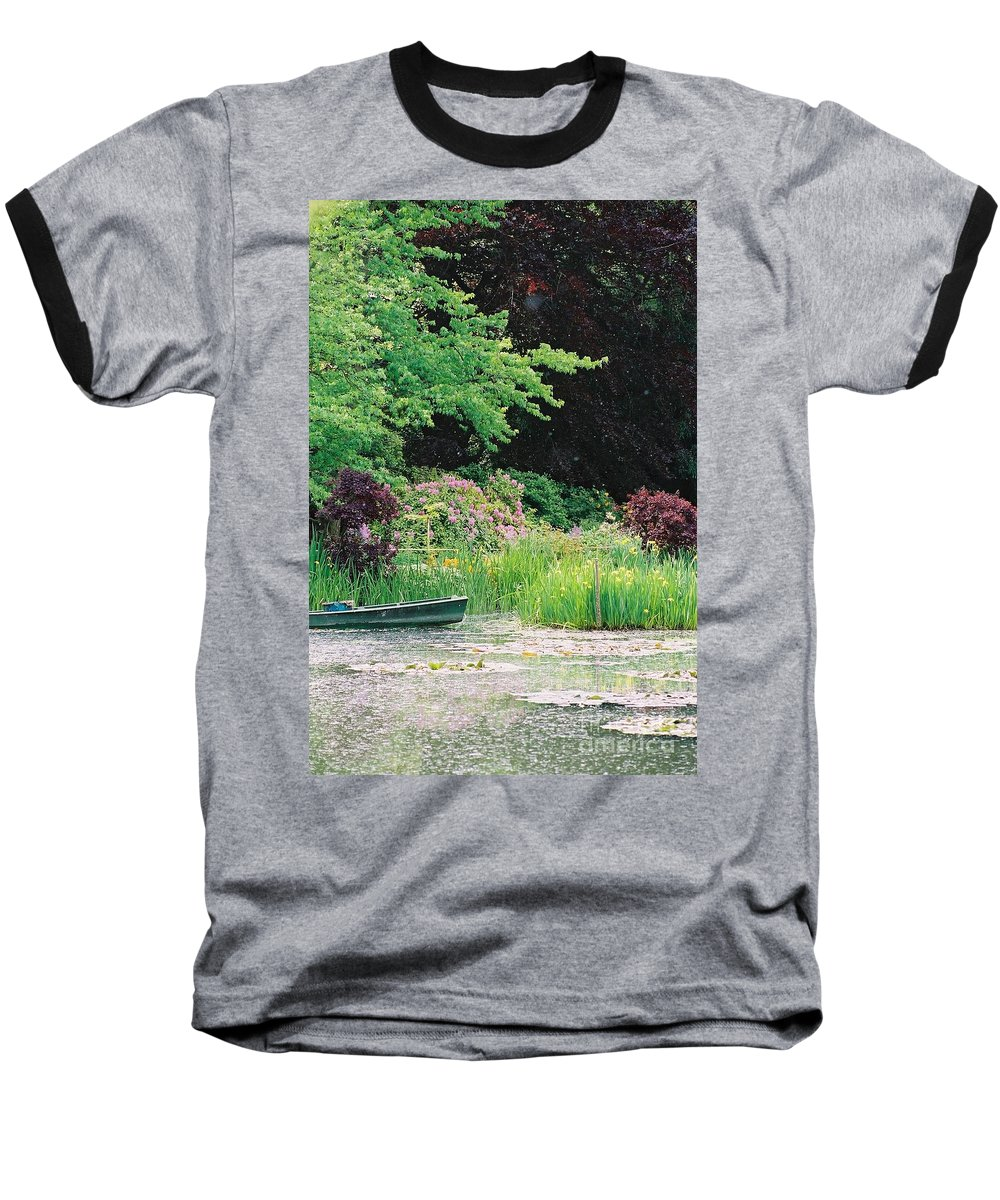 Monet Baseball T-Shirt featuring the photograph Monet's Garden Pond And Boat by Nadine Rippelmeyer