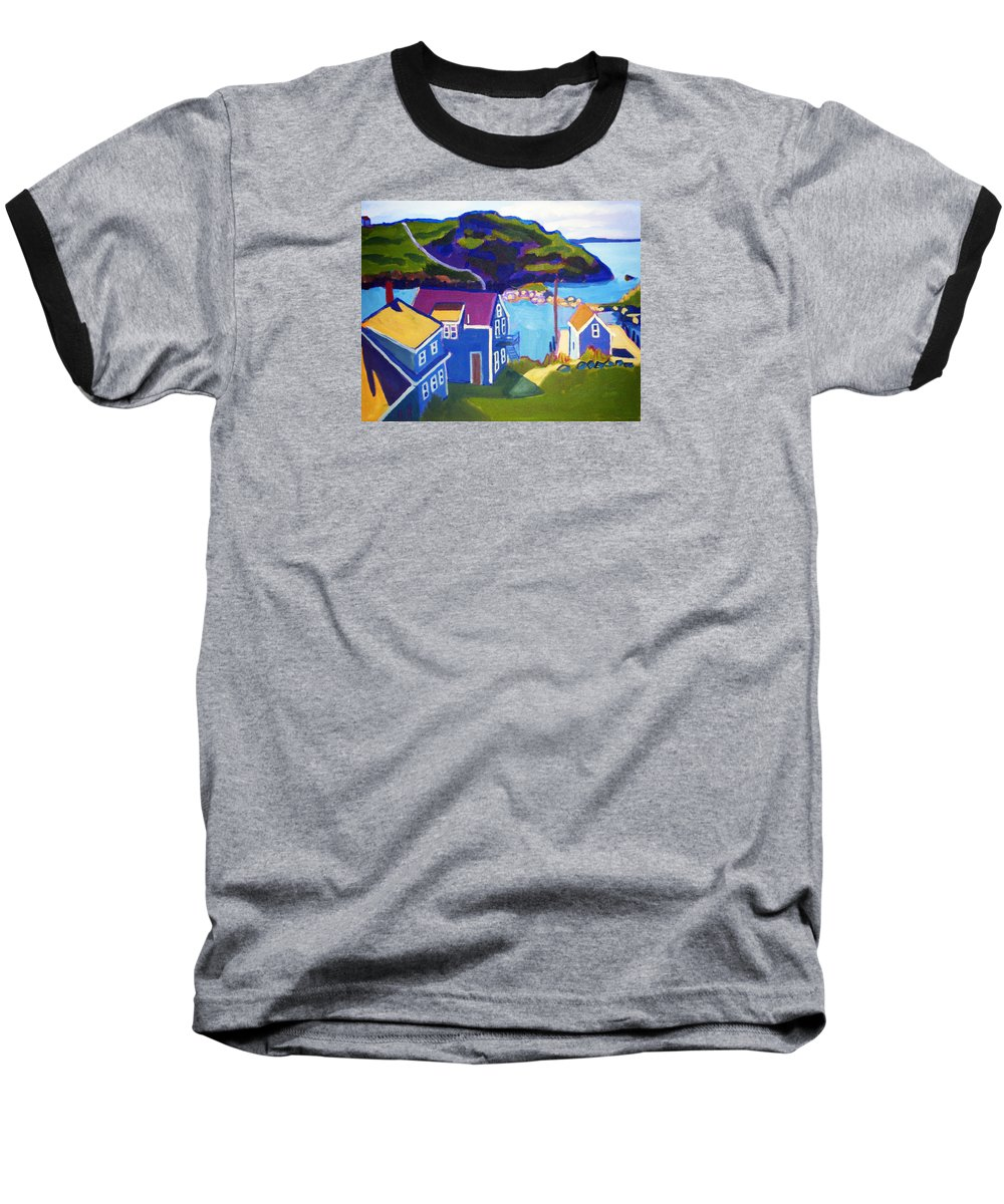 Seascape Baseball T-Shirt featuring the painting Monhegan Harbor by Debra Bretton Robinson