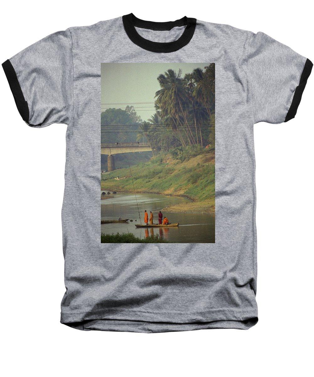 Monks Baseball T-Shirt featuring the photograph Monks - Battambang by Patrick Klauss