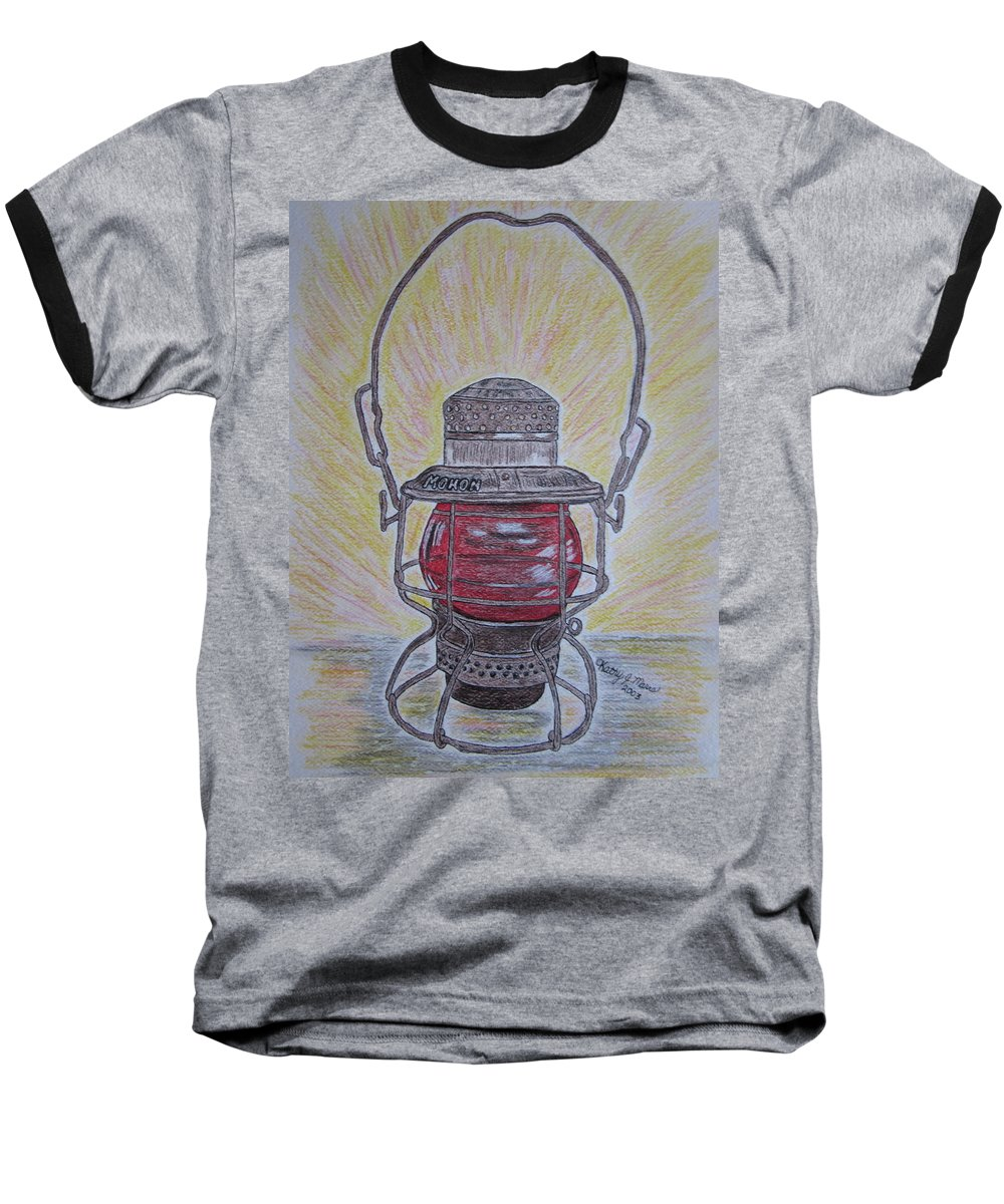 Monon Baseball T-Shirt featuring the painting Monon Red Globe Railroad Lantern by Kathy Marrs Chandler