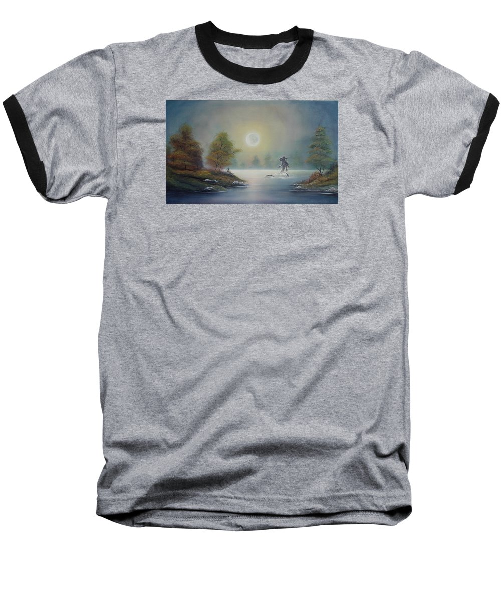 Landscape Baseball T-Shirt featuring the painting Monstruo Ness by Angel Ortiz