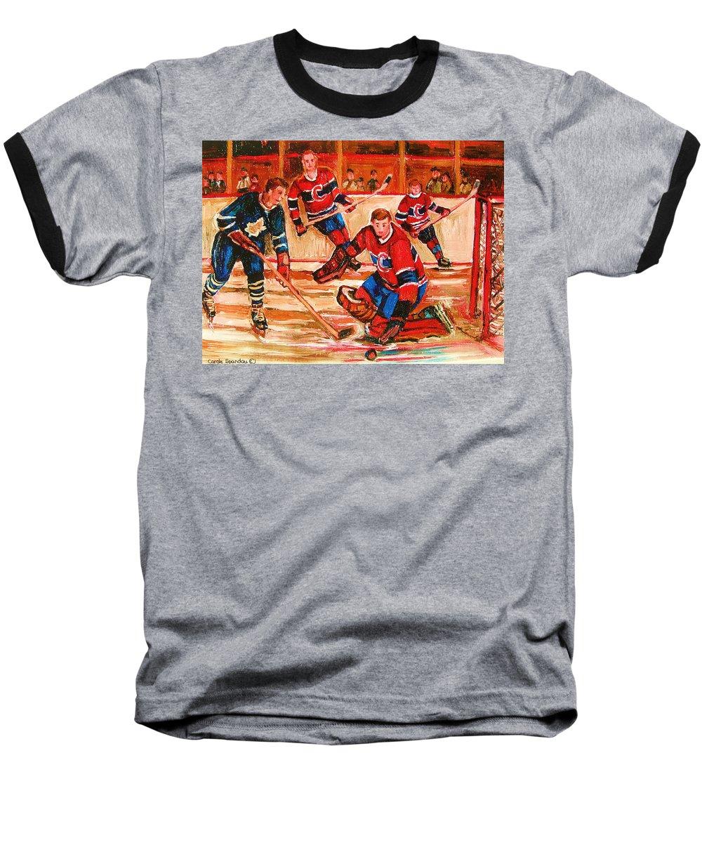 Montreal Forum Hockey Baseball T-Shirt featuring the painting Montreal Forum Hockey Game by Carole Spandau