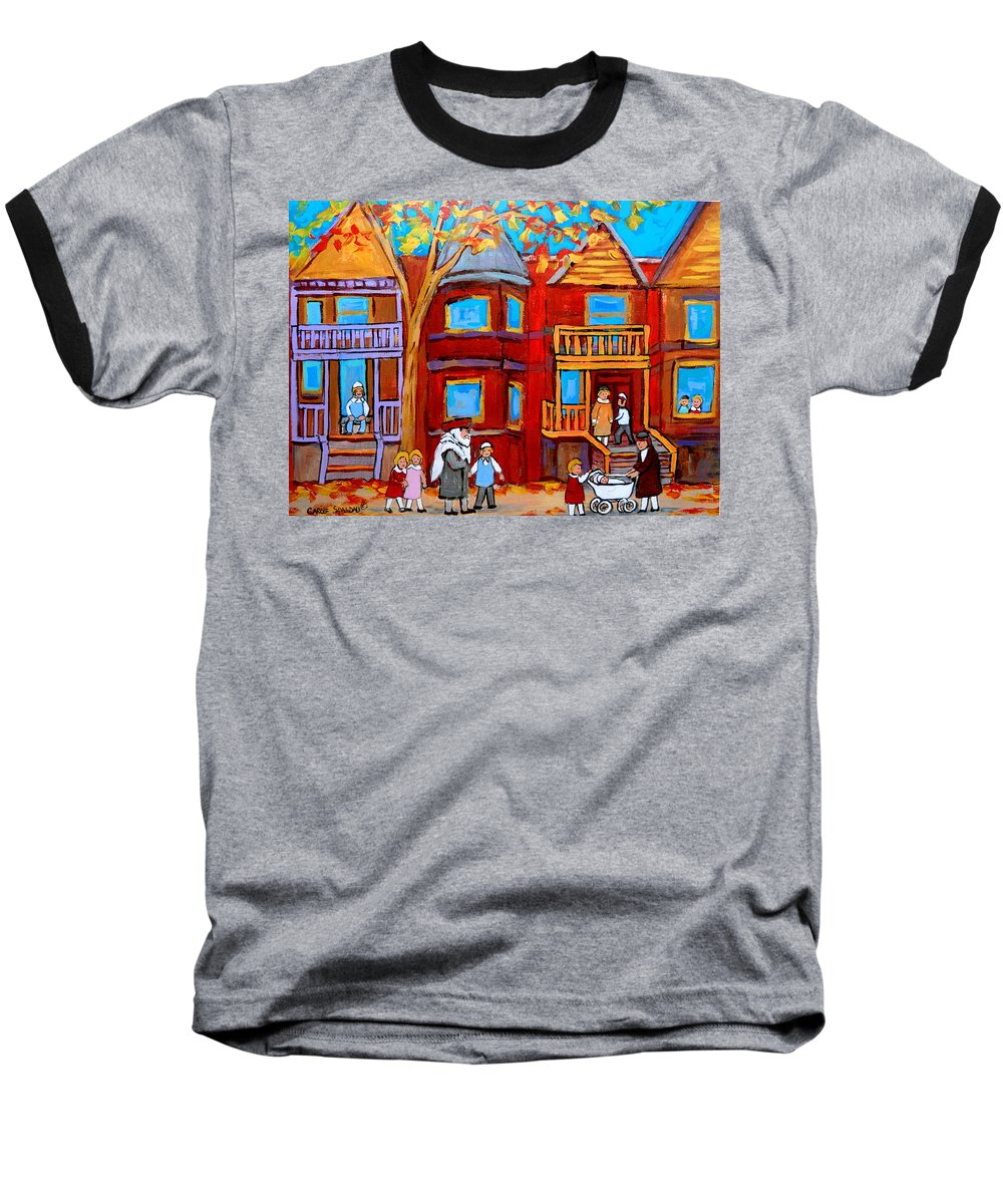Outremont Baseball T-Shirt featuring the painting Montreal Memories Of Zaida And The Family by Carole Spandau