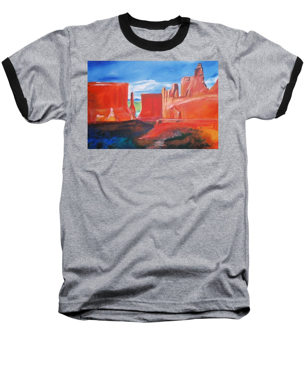 Floral Baseball T-Shirt featuring the painting Monument Valley by Eric Schiabor